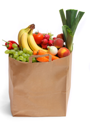 Grocery bag full of fruit and vegetables